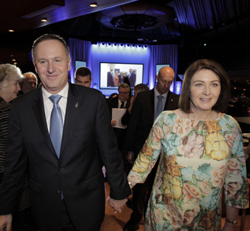 KEY SPEAKER: The prime minister and his wife Bronagh at the National party conference in Wellington.