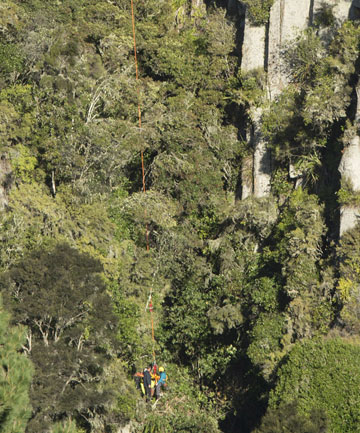 Ben Severne being winched from Lake Taupo forest