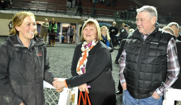 SUCCESSFUL: Co-trainer Amber Hoffman, left, and owners Gaye and Leo Enright are all smiles after Shya's win in the final of the Golden Girls series at Forbury Park on Friday night.