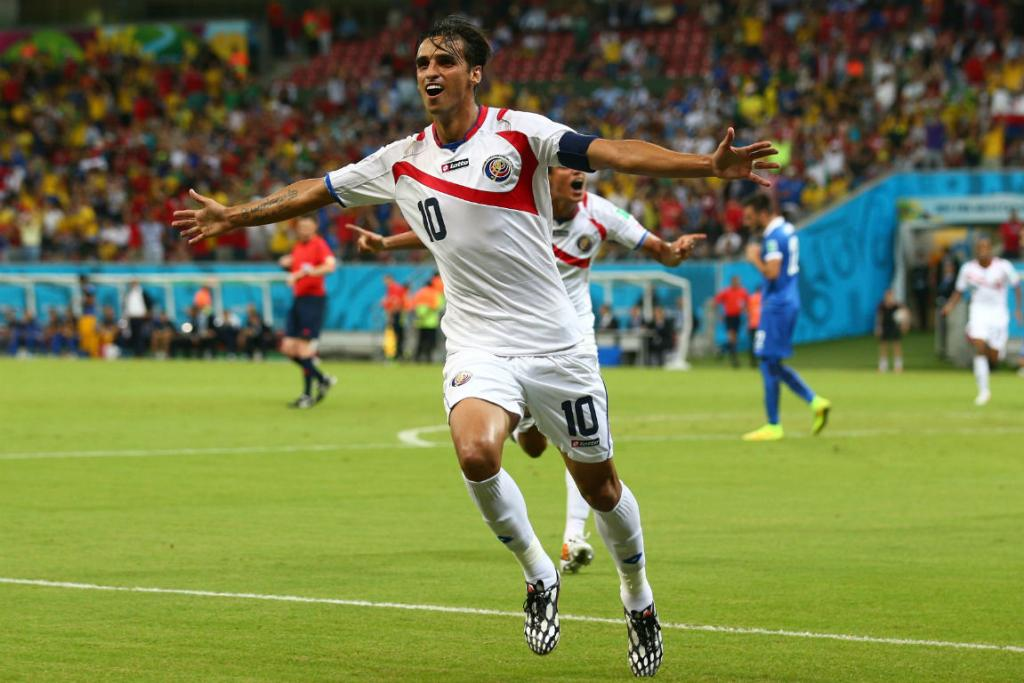 Costa Rica's Bryan Ruiz celebrates scoring the opening goal in their second round match with Greece in Recife.