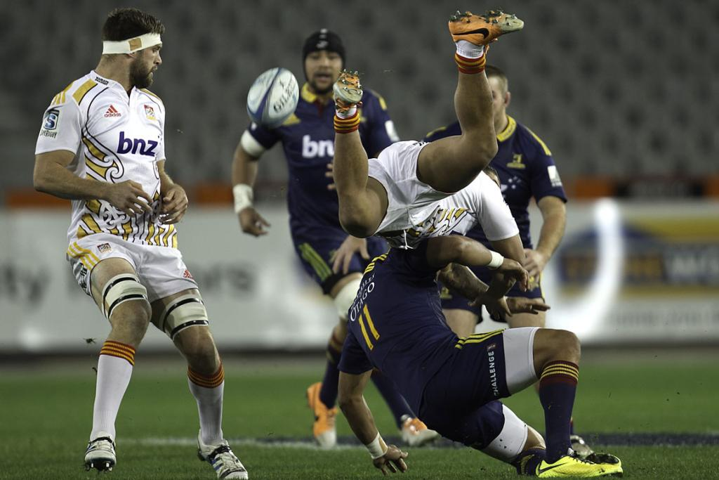 Bundee Aki of the Chiefs looks to take the high ball during his side's 29-25 loss to the Highlanders in Dunedin.