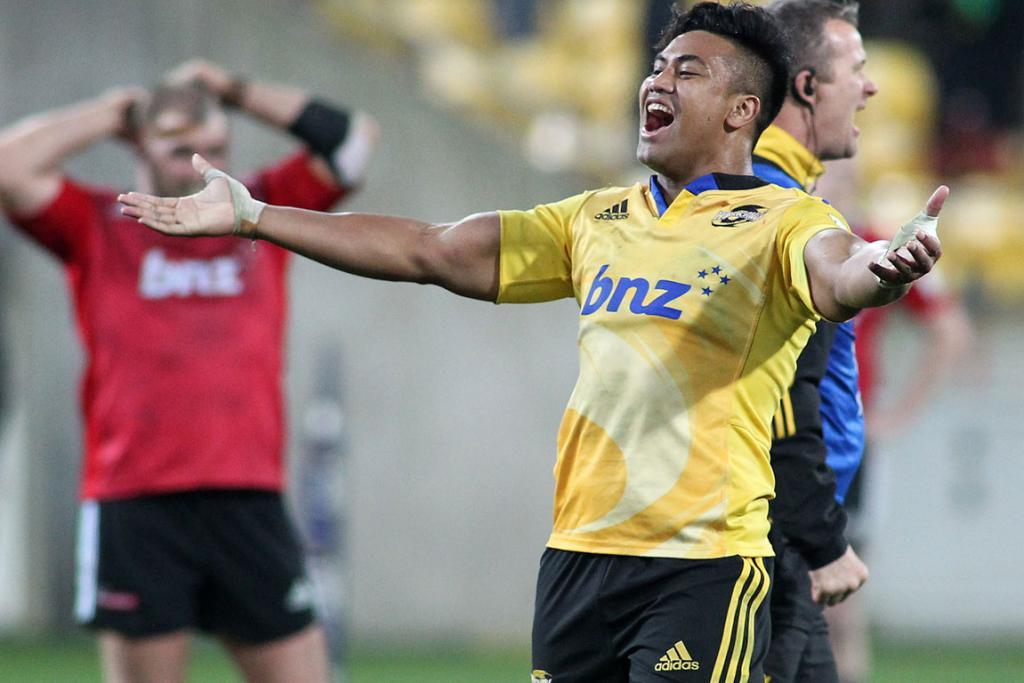 Julian Savea celebrates the Hurricanes' win over the Crusaders during their Round 17 Super Rugby match at Westpac Stadium in Wellington.