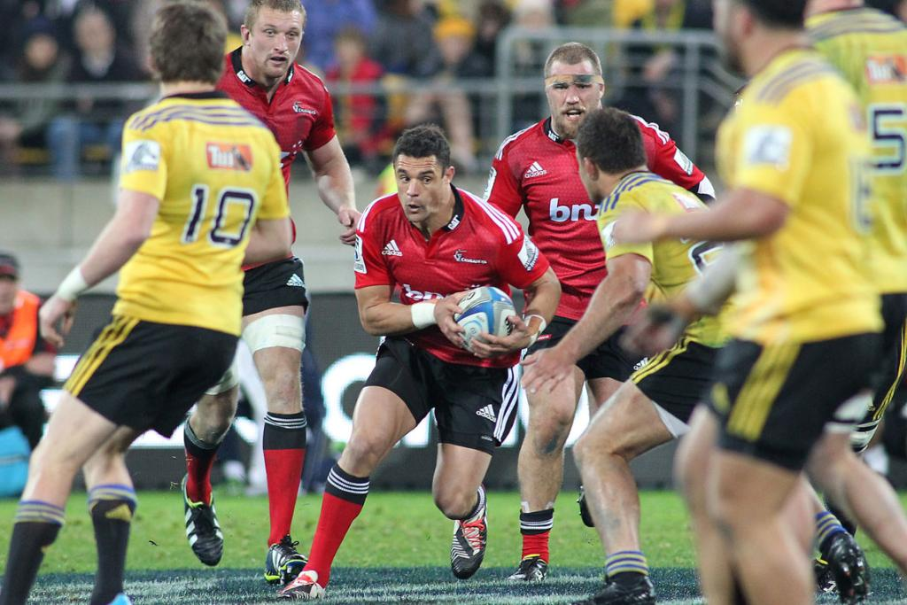 Dan Carter of the Crusaders looks to make a break against the Hurricanes during his first Super Rugby appearance of the season.