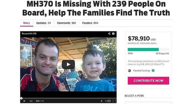 CROWDFUNDING: The campaign to raise A$5 million for the search for MH370 has raised less than A$80,000 so far.