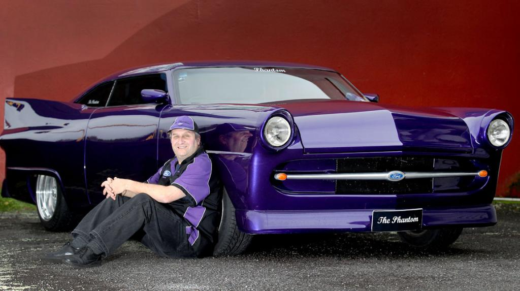 Terence Costello and his hand built car called ''The Phantom'' based on a 1956 Ford Customline.