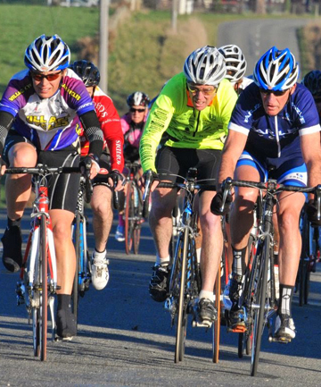LEADER OF THE PACK: Laurie D'Arcy, right, took out the McLean cup in a great sprint. Pictured beside D'Arcy is Grant Wilson and Pippa Goodwin, left, who finished third.