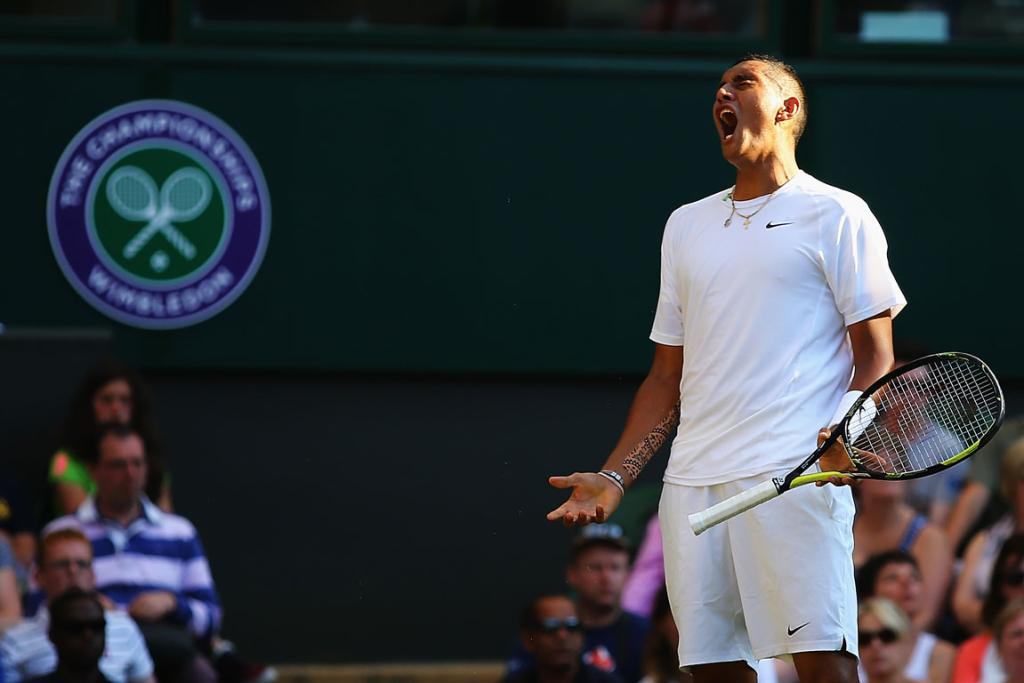 Australian wildcard Nick Kyrgios reacts during his fourth round singles match with Rafael Nadal.