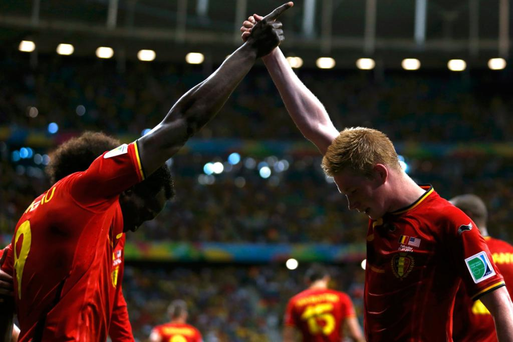 Belgium's Romelu Lukaku and Kevin De Bruyne celebrate a goal in their round of 16 knockout clash against USA.