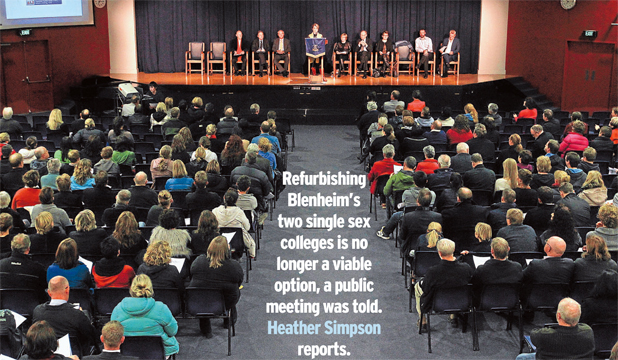COMMUNITY SUPPORT: Around 300 people turned up at last night's public meeting on the future of secondary school education in Blenheim