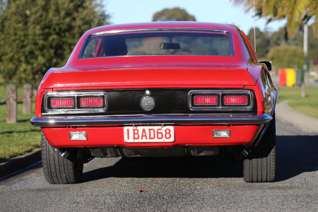 The back view of the 1968 Camaro is just as impressive as its front.