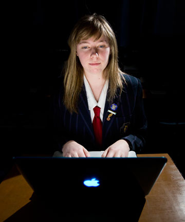 Tech-savvy teen: Palmerston North Girls' School studentHayley van Waas, 17,  has received a nod of approval from Google and Netsafe for a clever campaign she developed as part of the nationwide Web Rangers competition, which encourages teenagers to share messages of web safety.