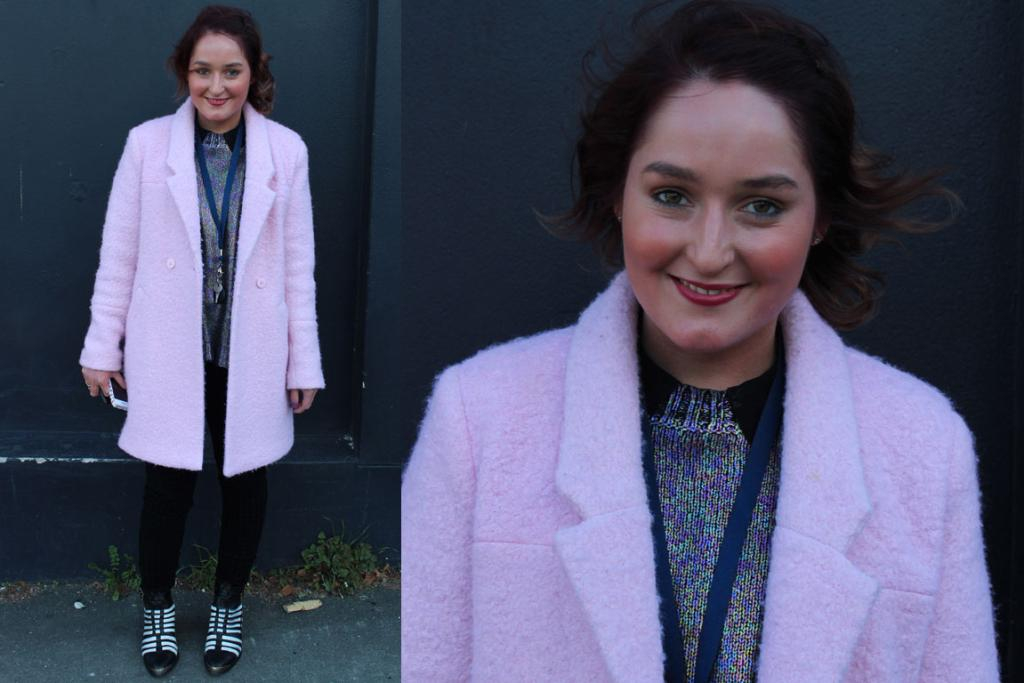 Jamie photograohed on Albany St in Dunedin wears a coat, top and pants from Glassons and a pair of funky boots from Mi Piaci.