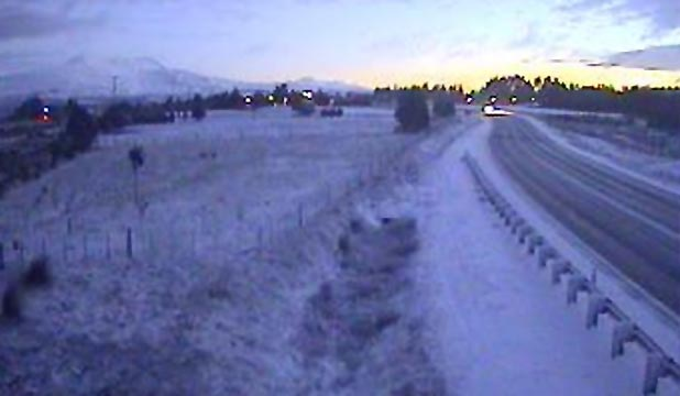 ROAD FREEZE: Snow covers State Highway 1 near Waiouru in the central North Island.