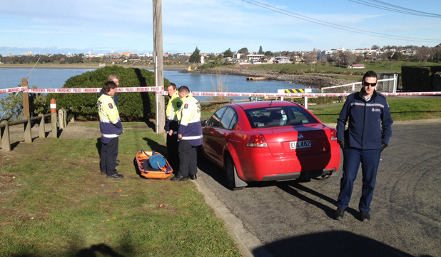 FOUND: Police assemble near Dashing Rocks where searchers looking for Timaru woman Shelley Lurajud have found a body.
