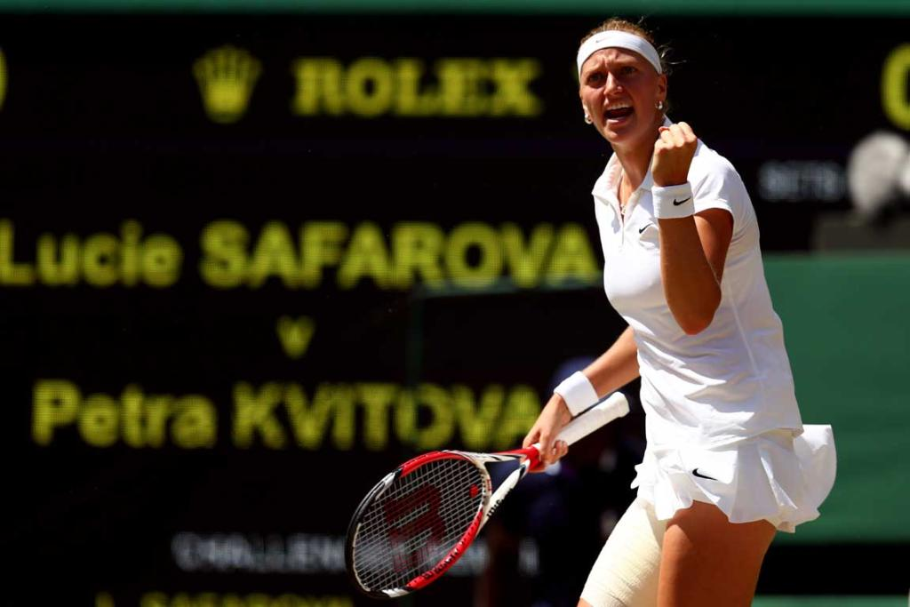 After a first-set tiebreaker, Petra Kvitova took control in the second set, defeating Lucie Safarova in straight sets.