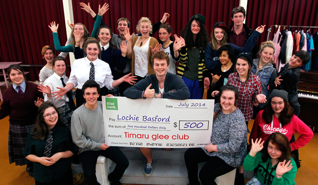 GLEEFUL GIVING: The Timaru Glee Club has given past member Lochie Basford, centre, $500 towards his trip overseas to attend an acting workshop at the Globe Theatre in London.