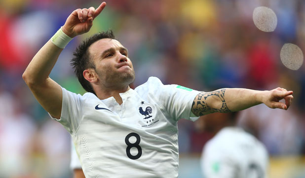 FOR THE FANS: Mathieu Valbuena hopes there'll be plenty of cause for French celebration when his team meets Germany in the World Cup quarterfinals.