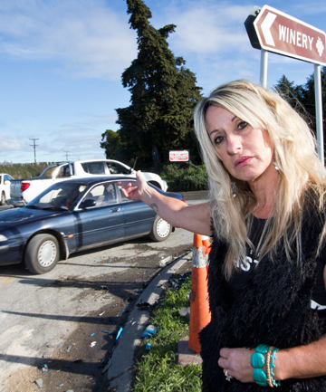 DANGER ZONE: Natalee Bartlett at the State Highway 6, Edens Rd and Aniseed Valley Rd intersection, where her daughter Georgia was in a car crash.