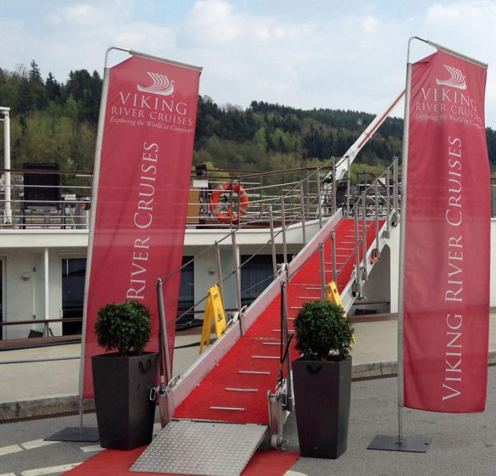 A red carpet greets passengers for the Viking Freya in Passau, Germany, for the start of a cruise.