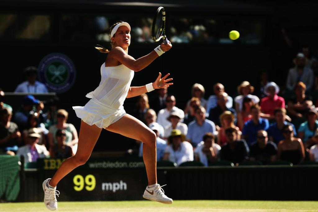Eugenie Bouchard of Canada during her Wimbledon match against Simona Halep of Romania.