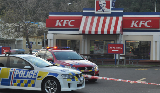 Police cordon outside Napier KFC after child killed in carpark