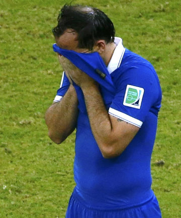 LOST FACE: Greece's Theofanis Gekas reacts after missing during a penalty shootout in their 2014 World Cup round of 16 game against Costa Rica.