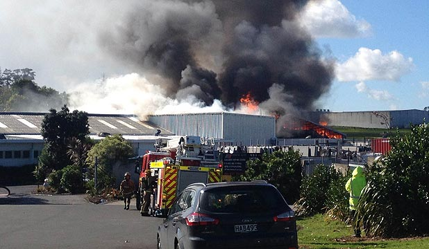 BLAZE: Firefighters battled the fire in a bitumen tank next to a building at the Thermakraft premises.