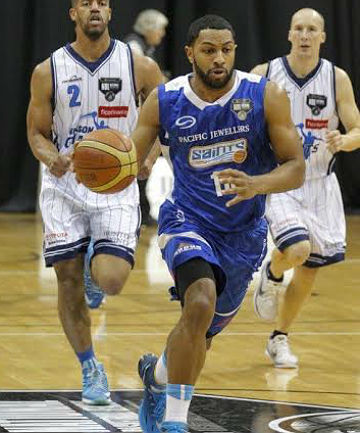 HERE WE GO: Dion Prewster on the charge for the Wellington Saints against the Nelson Giants.