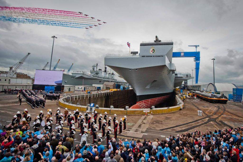 Red Arrows mark the naming of Royal Navy's new aircraft carrier HMS Queen Elizabeth by Queen Elizabeth II.