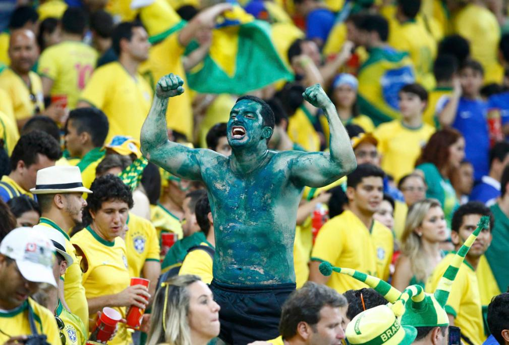 LOVES THE HULK: A Brazil fan shows his support for star player Hulk.