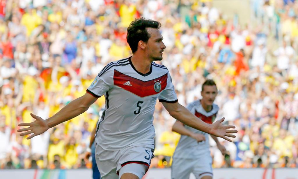 MATCH-WINNER: Germany's Mats Hummels celebrates scoring the goal that put his team through to the World Cup semifinals.