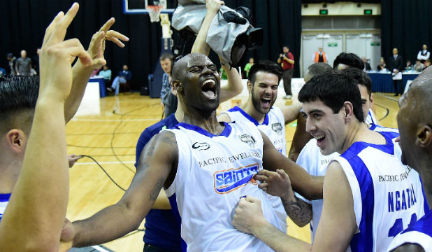 PARTY TIME: Wellington Saints players celebrate winning the NBL Finals at the TSB Arena in Wellington.