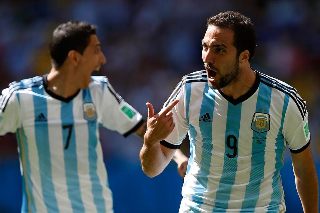 Argentina's Gonzalo Higuain celebrates after scoring a goal against Belgium during their quarterfinal.