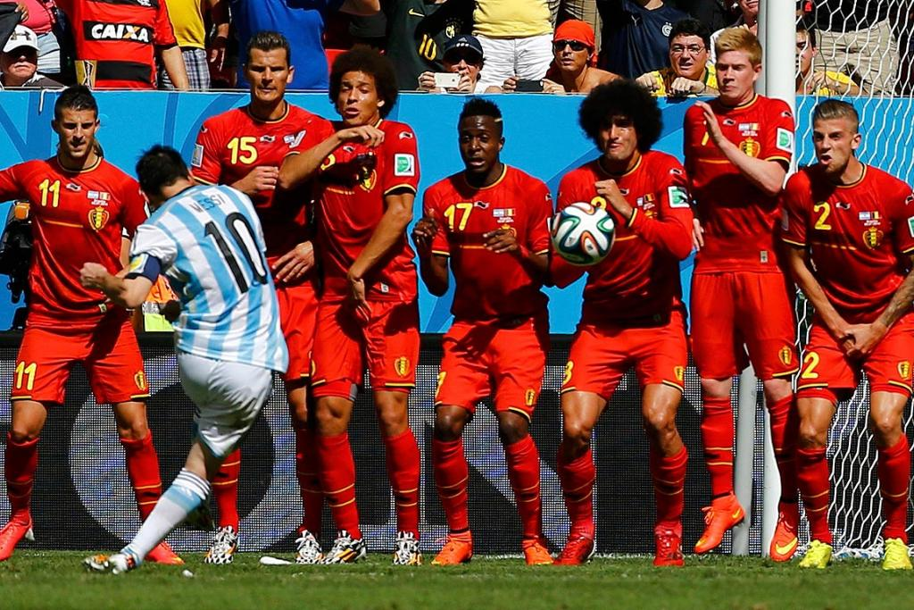 Argentina's Lionel Messi takes a free kick during his sides quarterfinal against Belgium.