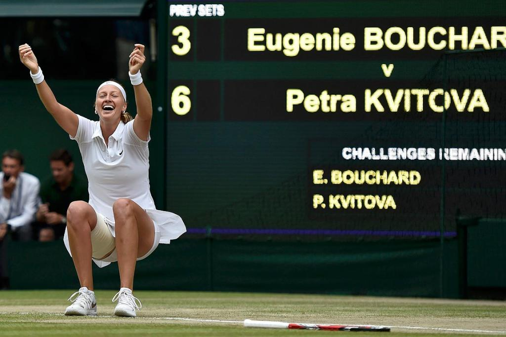 Petra Kvitova of the Czech Republic celebrates after defeating Eugenie Bouchard of Canada in the women's singles final.