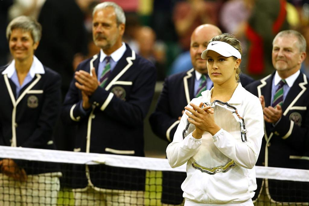 Eugenie Bouchard with the runner-up trophy after the women's singles final against Petra Kvitova.