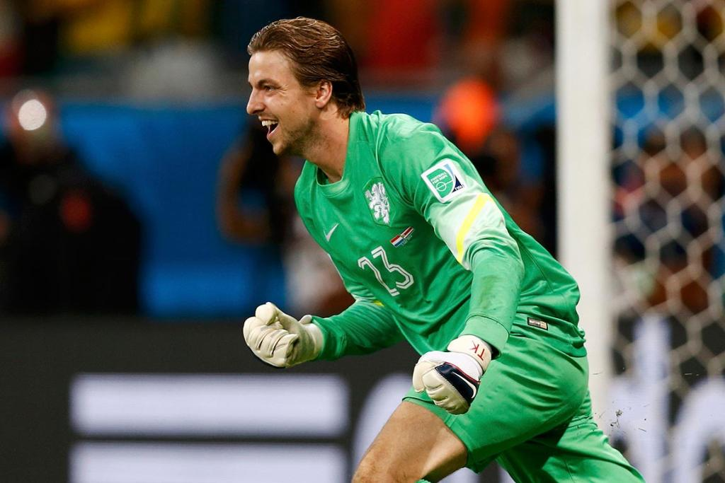 Dutch goalkeeper Tim Krul celebrates after winning their penalty shootout in their quarterfinal against Costa Rica.