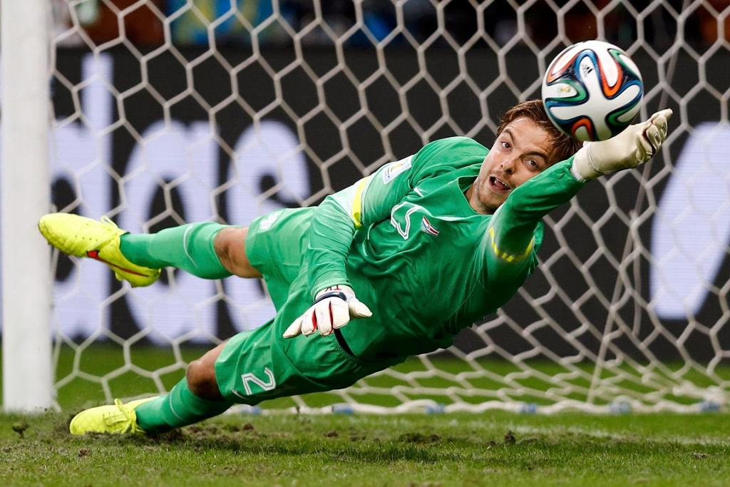 Dutch goalkeeper Tim Krul makes the winning save in the penalty shootout against Costa Rica.