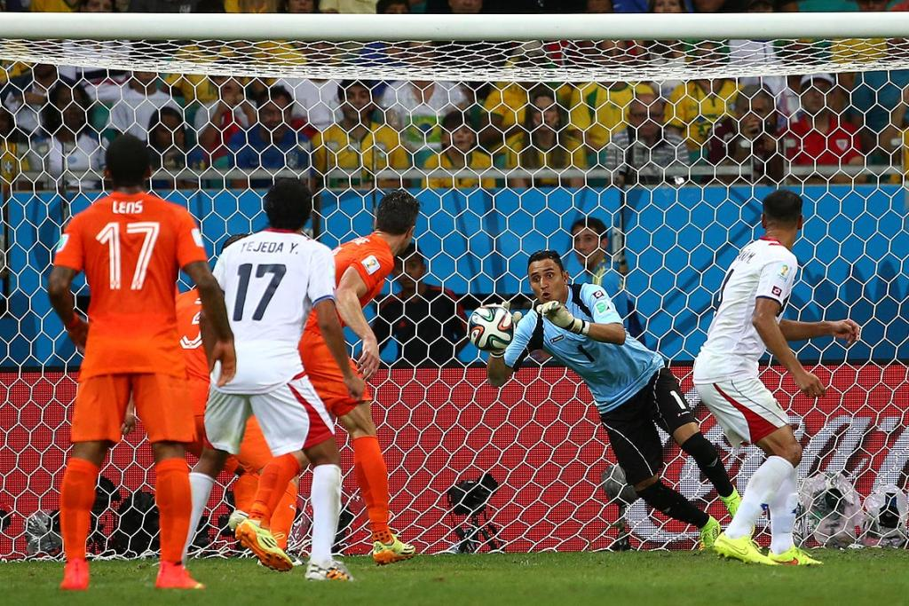 Keylor Navas of Costa Rica makes one of many saves against the Netherlands.