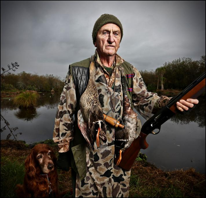 Richard Tyson on opening day of duck shooting season at a Fish & Game pond near Pokeno.