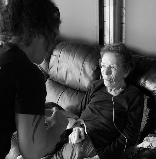 Hospice care. Karen Horan (left) assisted her mother Diane Blackburn.