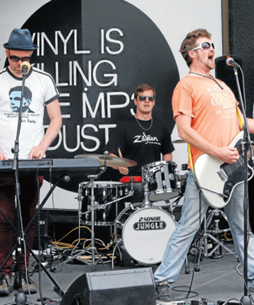 LIVE:  Wellington band Vorn jam on the street   outside Everyman Records   during a lunch time last year.