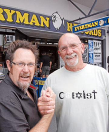 BACK IN TOWN:  Greg Shaw, left with co-founder Mike Beveridge outside Everyman Records in Hardy St  in February 2008.