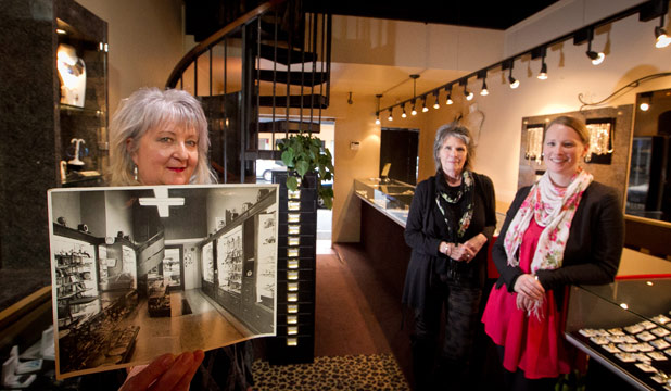 THEN AND NOW: Linley Hart's shop has been a jewellery store for nearly 100 years, and she says not much has changed. From left:  Linley Hart, Sue North and  Anna Williamson.