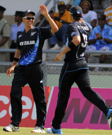HIGH FIVE: Black Caps fielder Trent Boult celebrates after taking a brilliant catch on the boundary against the West Indies.