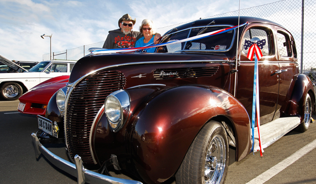 PRIDE AND JOY: Dave and Chris Rutherford with their 1938 Ford Deluxe.