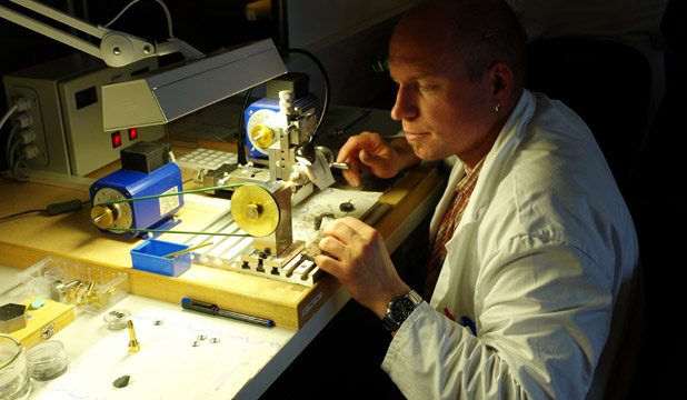 Watch-maker working at Moritz Grossmann, Glashuette, Germany.