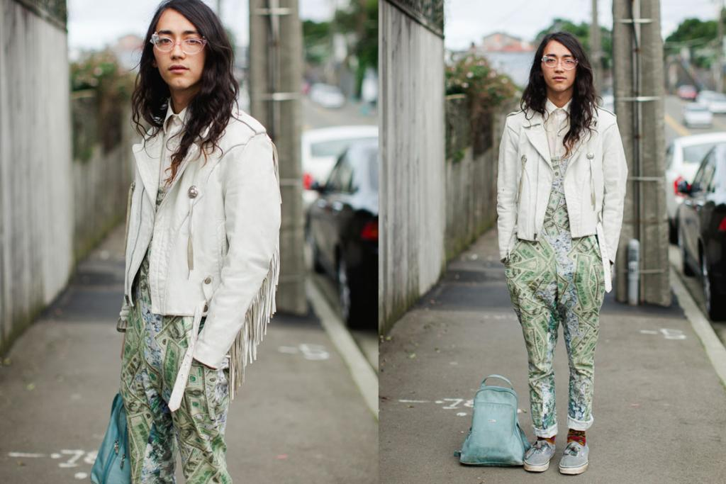 Isaac, designer at Nymphets, seen on Wallace St in Wellington wearing Nymphets dungarees and vintage everything else.