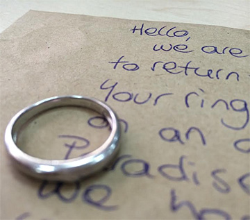 the ring and accompanying letter dart river jet staff sent to reunite the lucky couple with - Lost Wedding Ring
