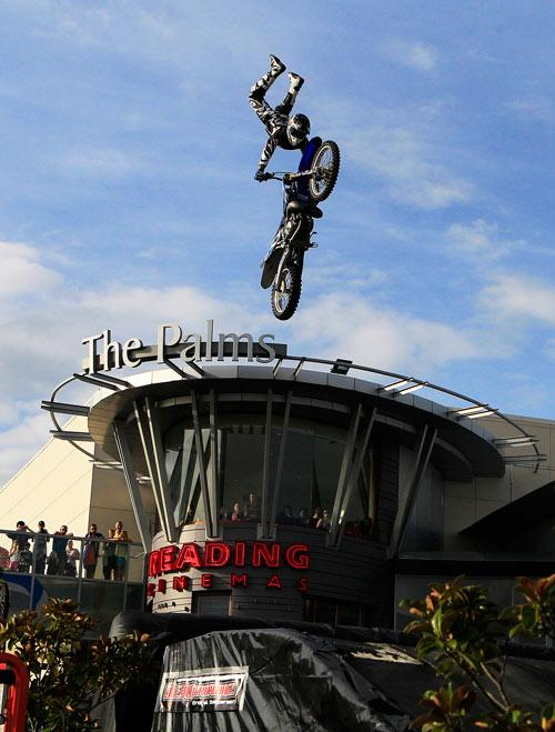 Truman Carrol makes a jump at the second annual FMX event at the Palms shopping mall, Christchurch.